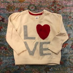 Baby Gap Love Sweater, Valentines Day Sweater ♥️